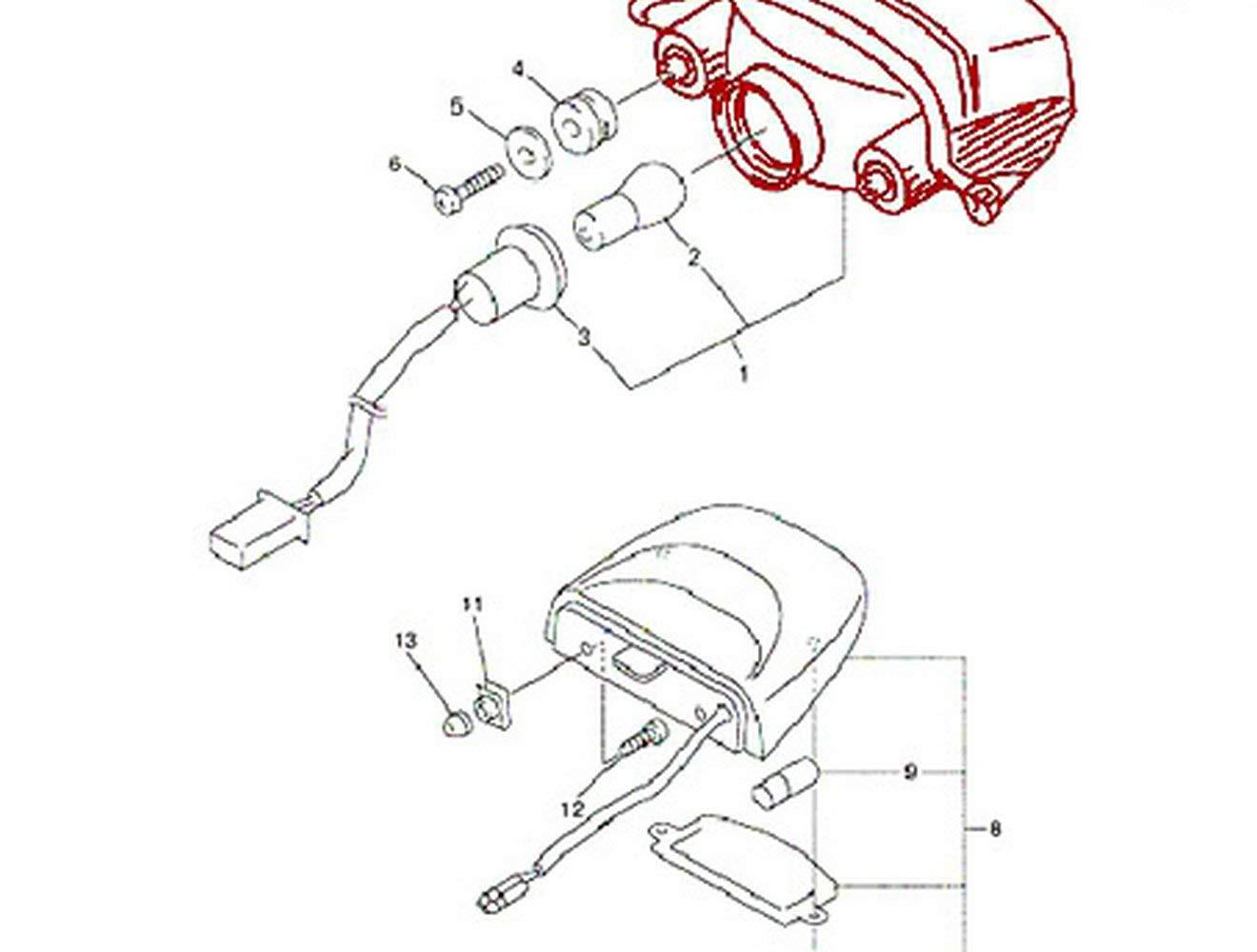 Mzs Fz6 Tail Light Led Integrated Turn Signal Blinker Fzx700 Yamaha Wiring Diagram For Fz 6 Fazer Fz600 2004 2005 2006 2007 2008 Smoke Automotive