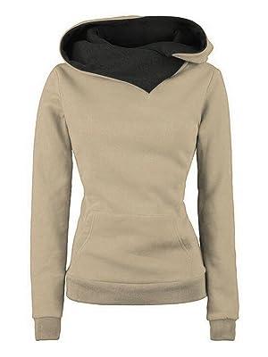 Choies Women Light Khaki Long Sleeve Pocketed Funnel Collar Fleece Pullover Hoodie XXL