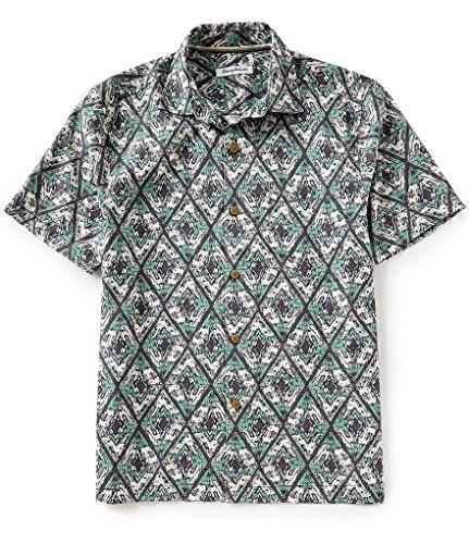 Tommy Bahama Deep Water Diamond Silk/Cotton Camp Shirt (Color: Deep Grass Green, Size XXL)