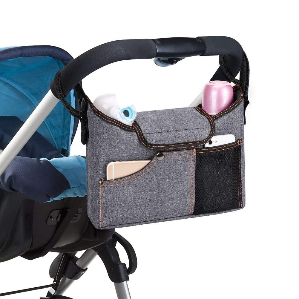 Universal Baby Jogger Stroller Organizer Bag/Diaper Bag with Cup Holders and Shoulder Strap. Extra Storage Space for Organize The Baby Accessories and Your Phones(Grey) Maco Trading