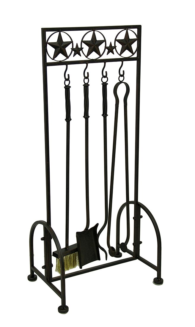 Zeckos Metal Fireplace Tool Sets Western Stars Rustic Brown Metal 5 Piece Fireplace Tool Set 14.5 X 32.5 X 10 Inches Brown