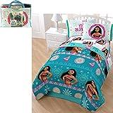 5 Piece Girls Disney's Moana Movie Themed Comforter Twin Set, Featuring Beautiful Cute Moana and Pua Fun Pattern, Mandala Medallion Floral Stripes, Animated Character Reversible Bedding, Blue Multi