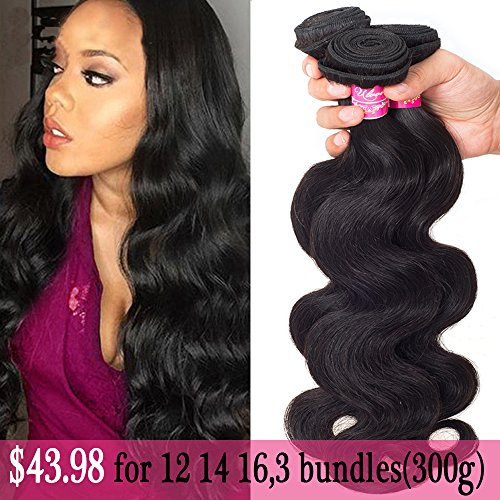 ULOVE HAIR Brazilian Virgin Hair Body Wave 3 Bundles 12 14 16 Size,Total:300g Remy Human Hair Weaves 100% Unprocessed Hair Extensions Natural Color (12 14 16Inch) (Brazilian Bundle)