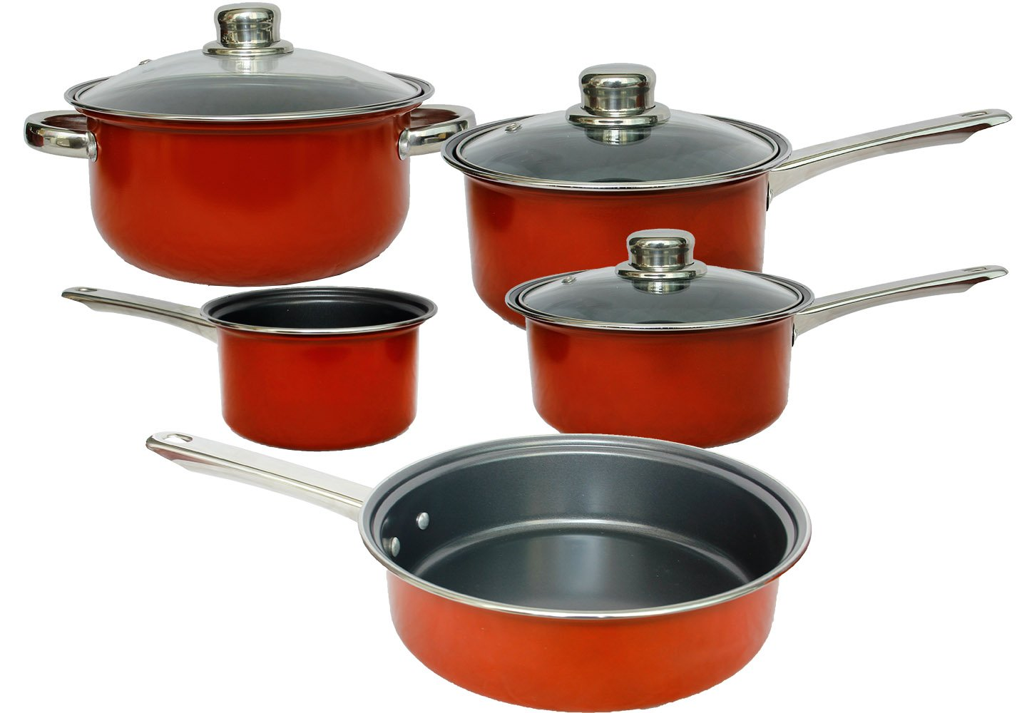 Non-Stick Cookware Set, Non-Stcik Pots and Pans, Dishwasher Safe Oven Safe, Includes: Milk Pan, Saucepans, Casserole Pan, Fry Pan, Non-Stick Interior, Stainless Steel Handle, 8-Piece, Red