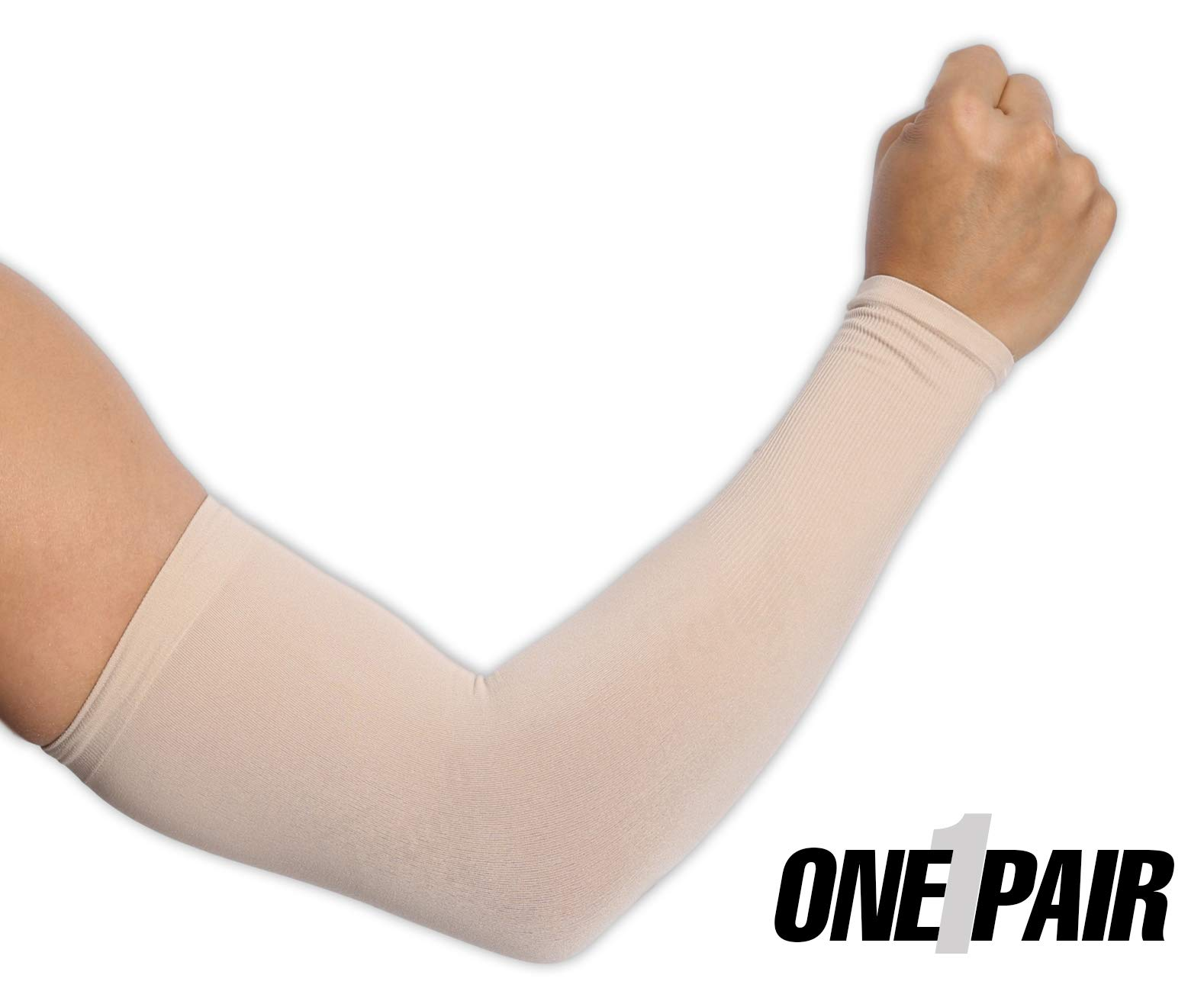 UV Protection Cooling Arm Sleeves - UPF 50 Long Sun Sleeves for Men & Women. Perfect for Cycling, Driving, Running, Basketball, Football & Outdoor Activities. (Light Beige)