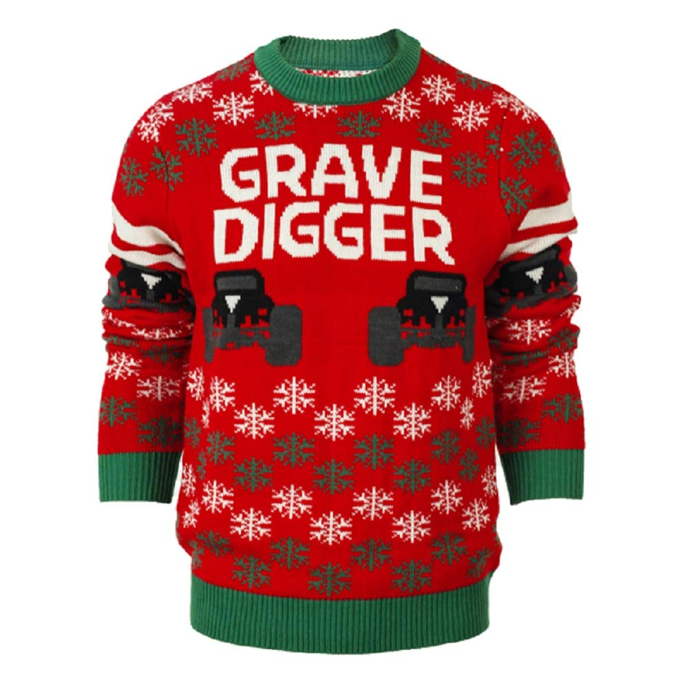 Monster Jam Grave Digger Ugly Holiday Sweater (Extra Extra Large) Red