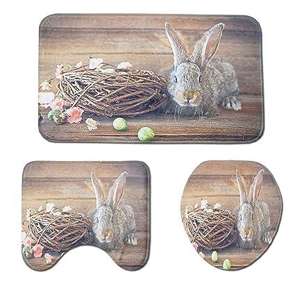 Floral Esater Egg Rabbit Nest Non-Slip Bathroom Home Decor Door Mat Rug Carpet