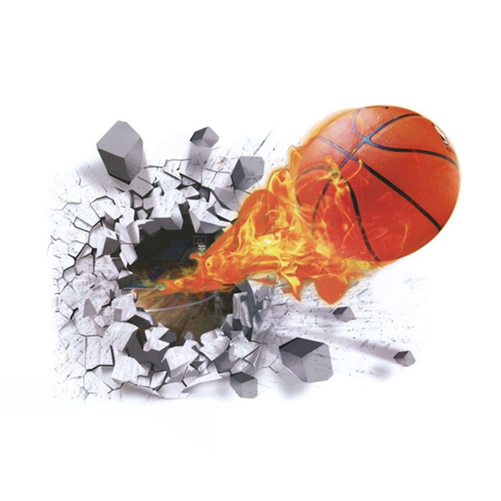 shangjunol Stereo 3D pallacanestro Pausa di arte della parete Adesivo rimovibile PVC muro decalcomanie del tatuaggio di Wallpaper Living Room
