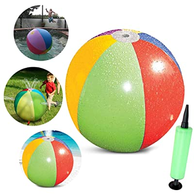 Extpro 30 Inch Inflatable Water Beach Ball Sprinkler with Pump for Kids Summer Outdoor Games: Toys & Games