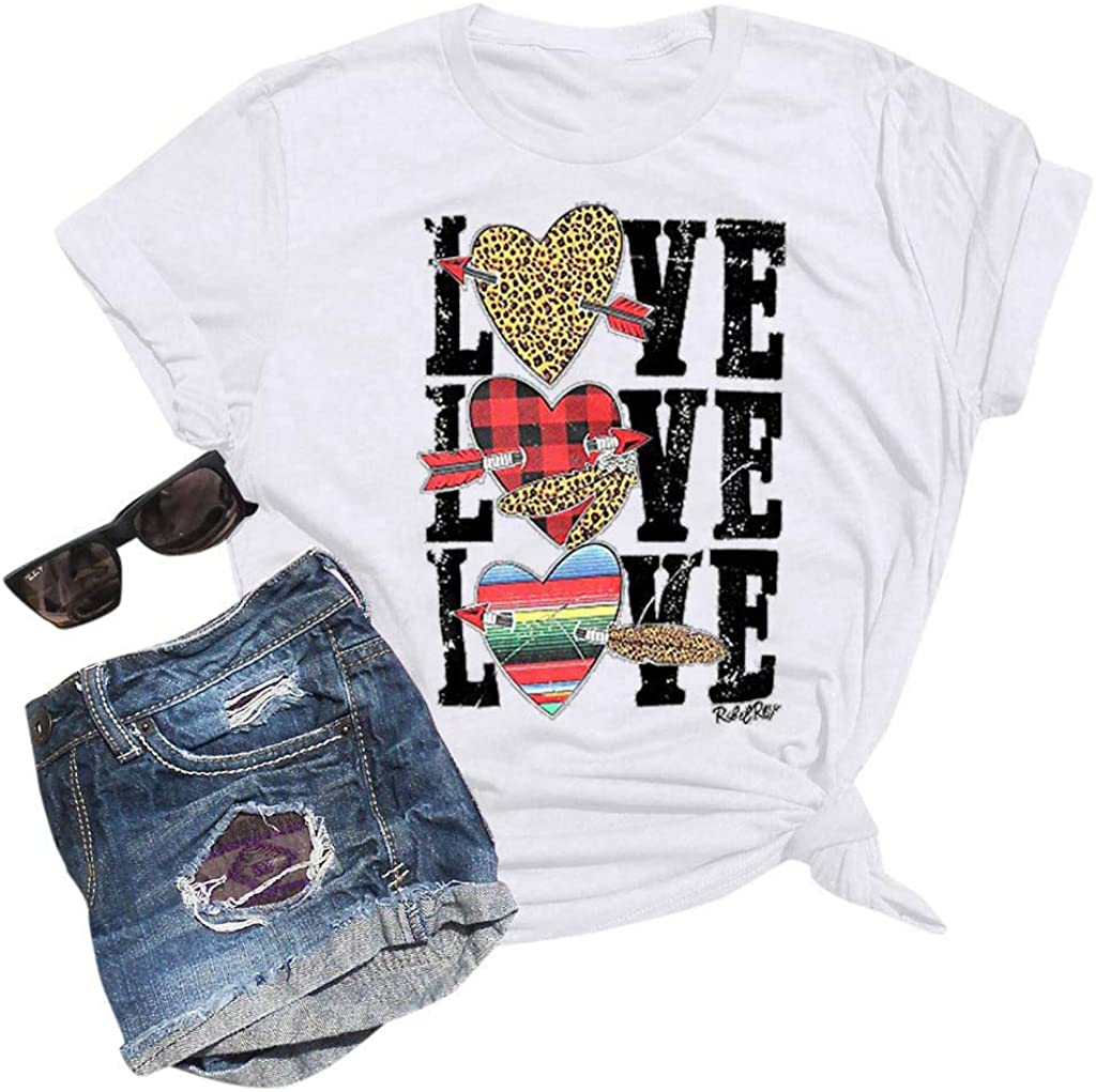 Womens Valentines Day Love Heart Printed Blouses Round Neck Short Sleeve Tops Loose T-Shirt