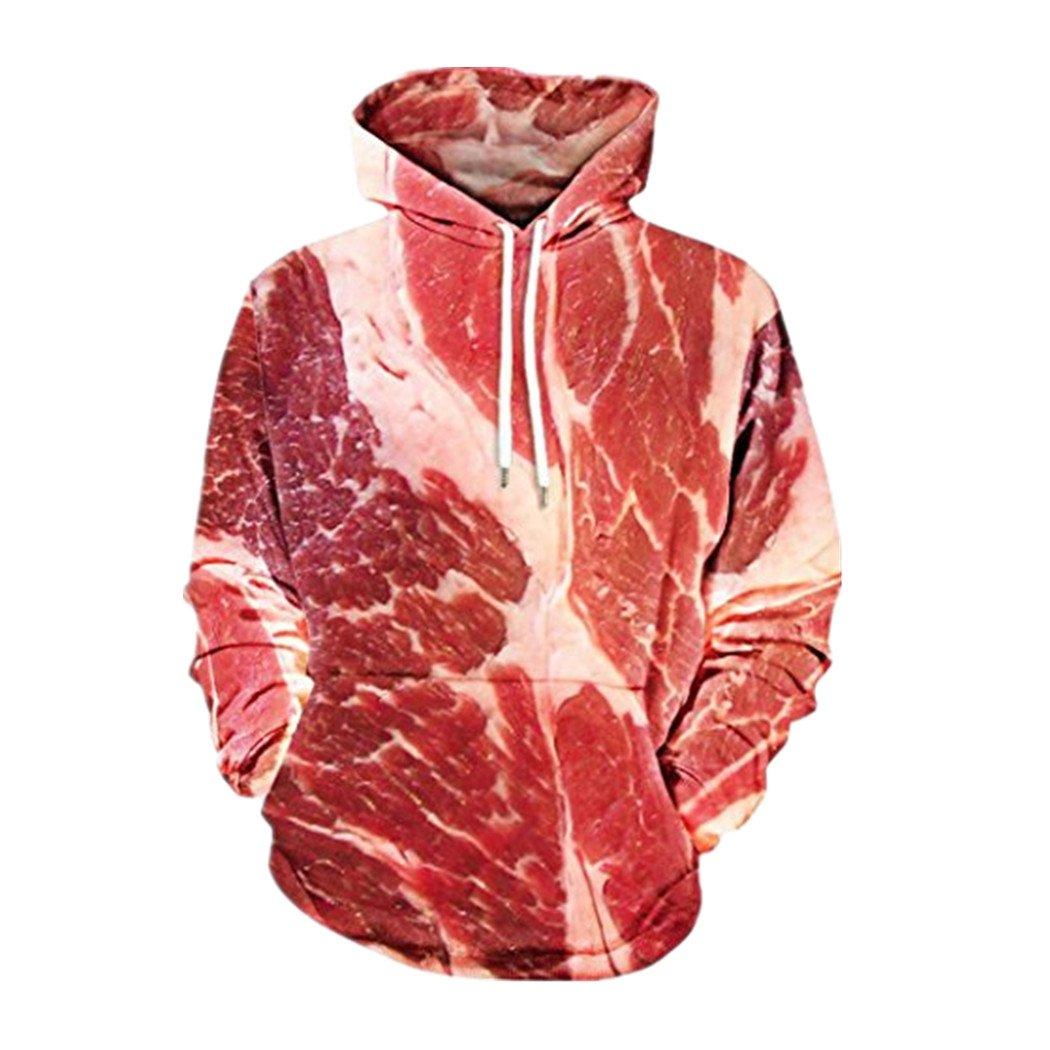 Ningsun 3D Raw Meat Stampa Cotone Hooded Camicetta da Cowboy Uomo Slim Fit Camicia Casual da Uomo Top Unisex Maglione con Cappuccio Sportive Abiti da Uomo