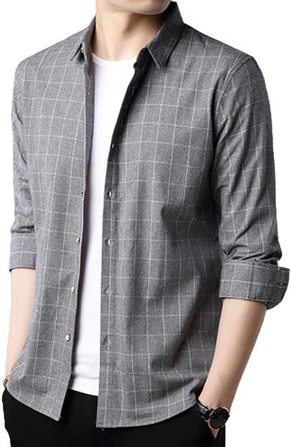 No/Brand Camisa a Cuadros Casual de Negocios para Hombres ...