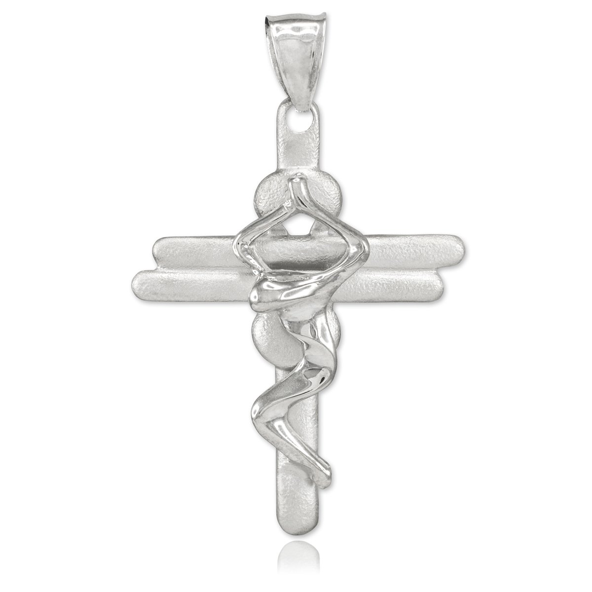 b68b2cc4234d Little Treasures - Sterling Silver Contemporary Crucifix Cross Pendant  Necklace (Come with an 18   chain)  Amazon.co.uk  Jewellery