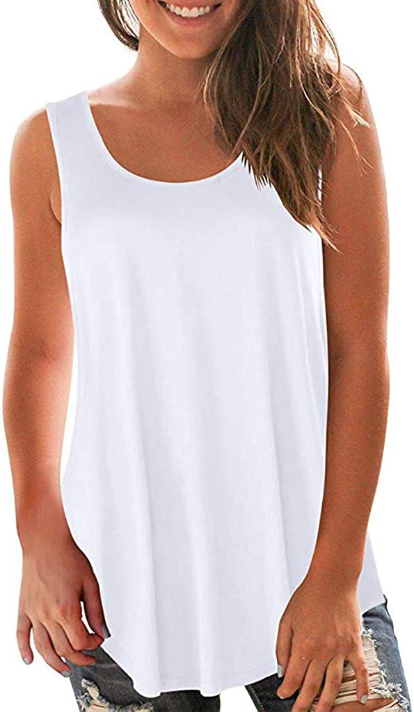 IEasⓄn Womens Sleeveless Tank Tops Loose Fit Flare Hem Tee Shirt Tunic Pullover Blouse