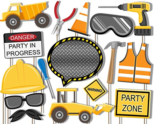 Construction Trucks Photo Booth Props Kit - 20 Pack Party Camera Props Fully Assembled