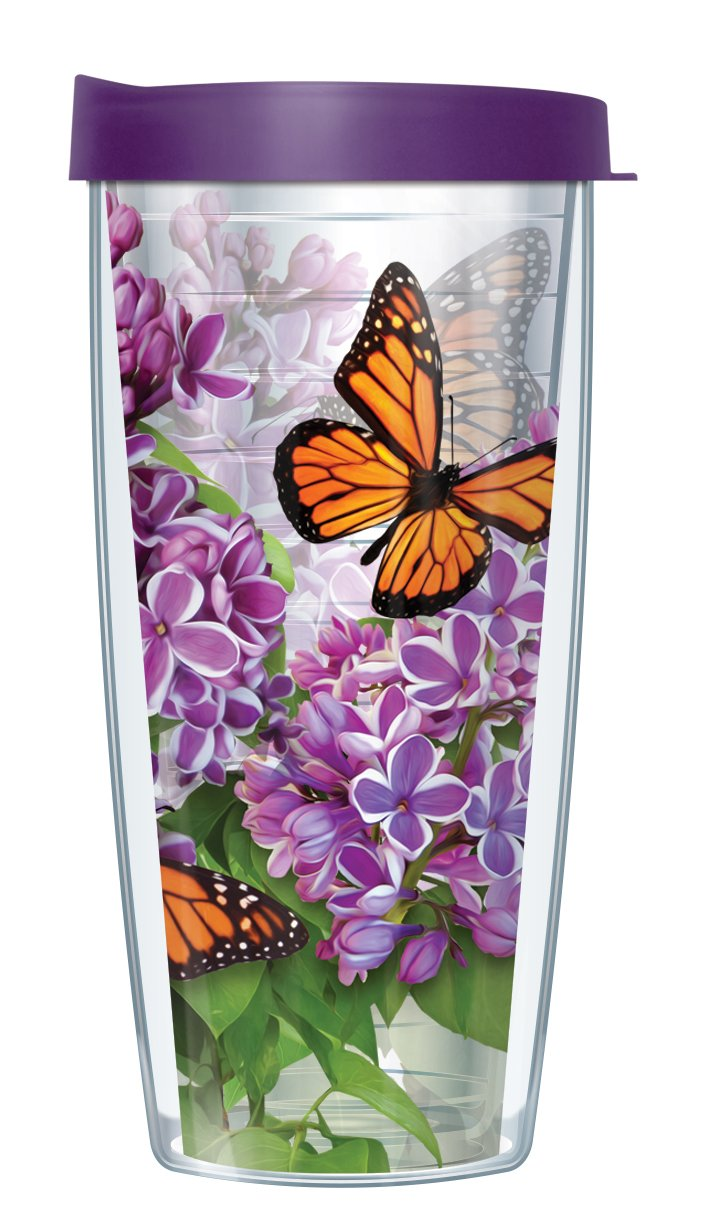 Monarch Butterflies Clear Wrap Traveler 16 Oz Tumbler Cup with Purple Lid by Signature Tumblers