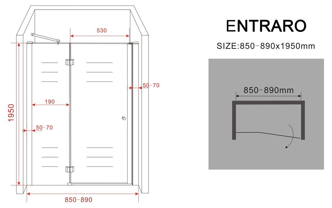 8 mm Nischent/ür ENTRARO 105 x 195 cm
