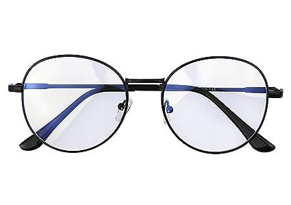 RUIXIA Unisexe Monture Lunettes de Vue Lumière Bleue Filtre Retro Homme et Femme  Vintage Cadre Frame 30f3d9f14711