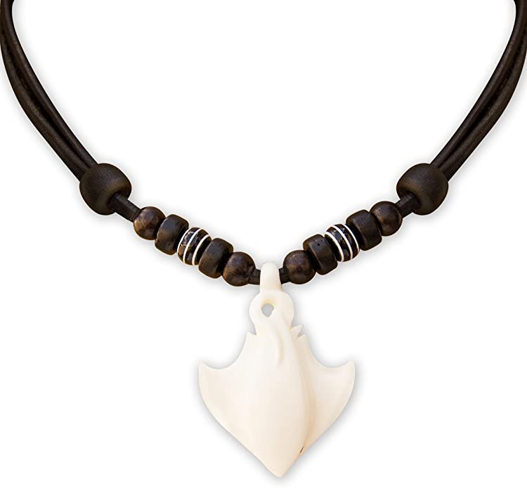 Maori Carved Manta Ray Bone Carving Pendant from New Zealand