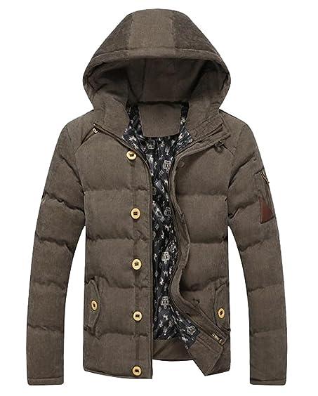7d5f09df8c5 Fensajomon Mens Corduroy Hooded Down Jacket Winter Warm Coat Outerwear Army  green XS