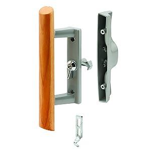 Prime-Line Products C 1018 Sliding Glass Door Handle Set, 3-15/16 in., Diecast & Wood, Aluminum Color,Hook Style, Internal Lock