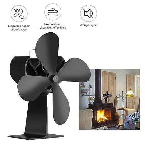 Chimenea Ventilador 4 hoja ventilador de calefacción de registro de madera con calor ventilador estufa de
