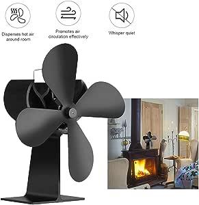 Chimenea Ventilador 4 hoja ventilador de calefacción de registro ...