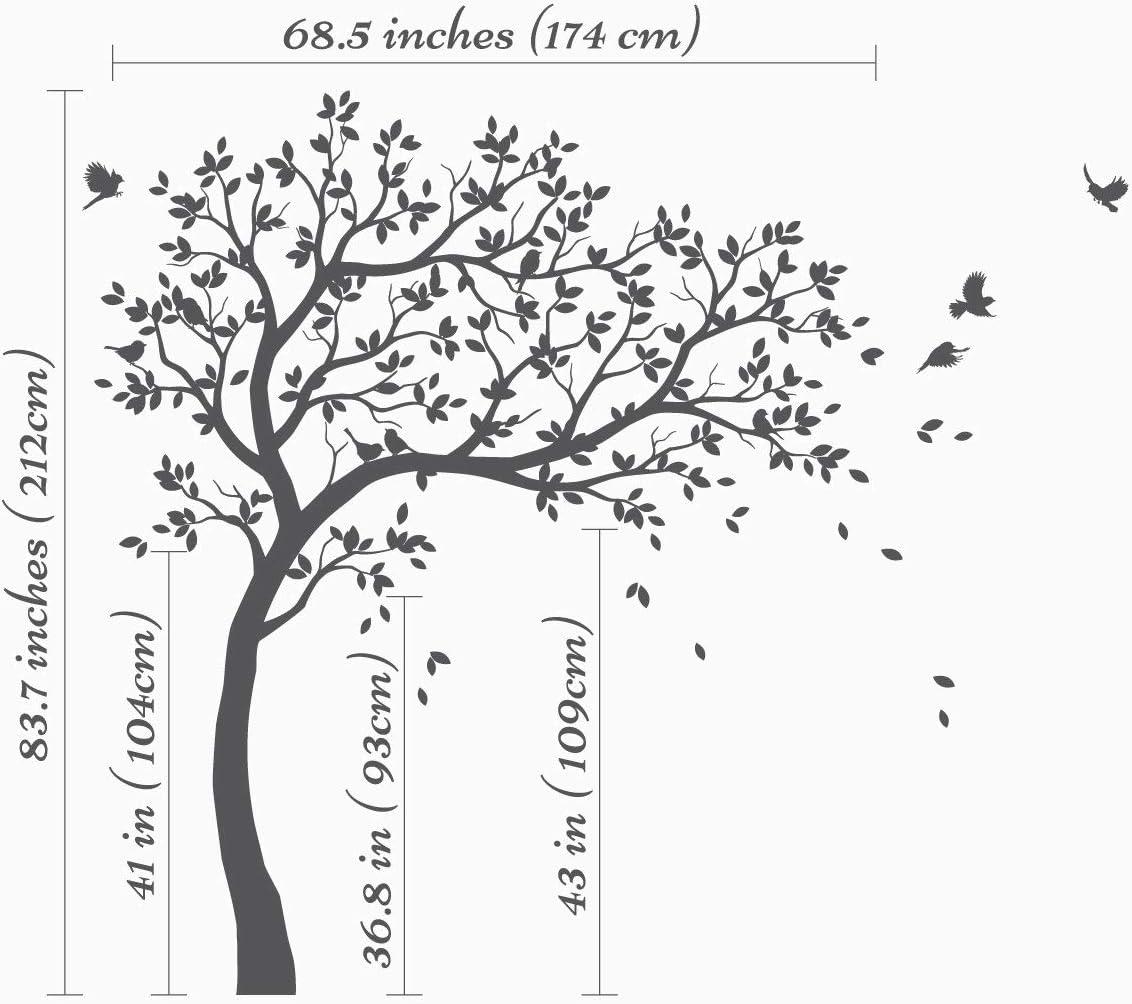 Wei/ßer Baum Wandtattoo Kinderzimmer Baum mit V/ögeln Wei/ß Wandaufkleber KW032R
