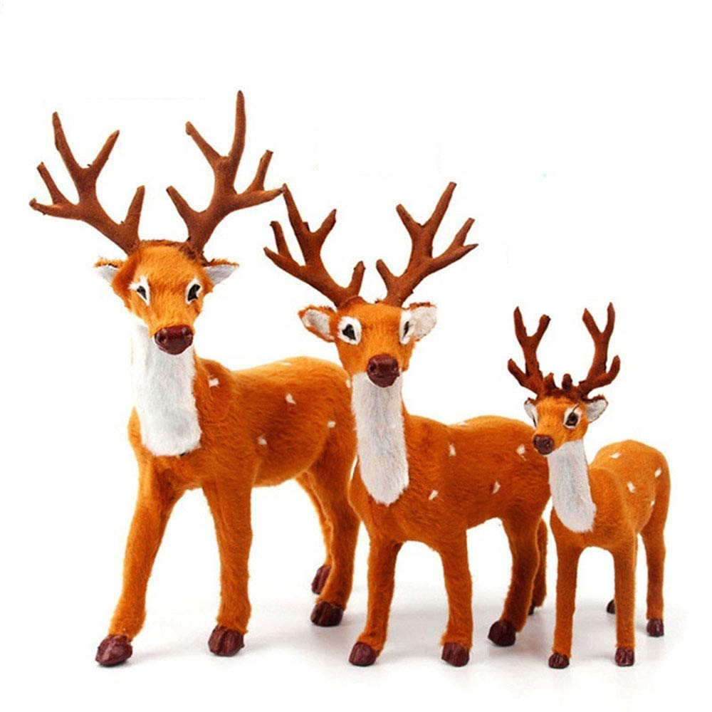 GOBEAUTY 3pc Plush Toys,Christmas Reindeer Xmas Elk Plush Simulation New Year Gift Christmas Decorations for Home 15cm 25cm 35cm