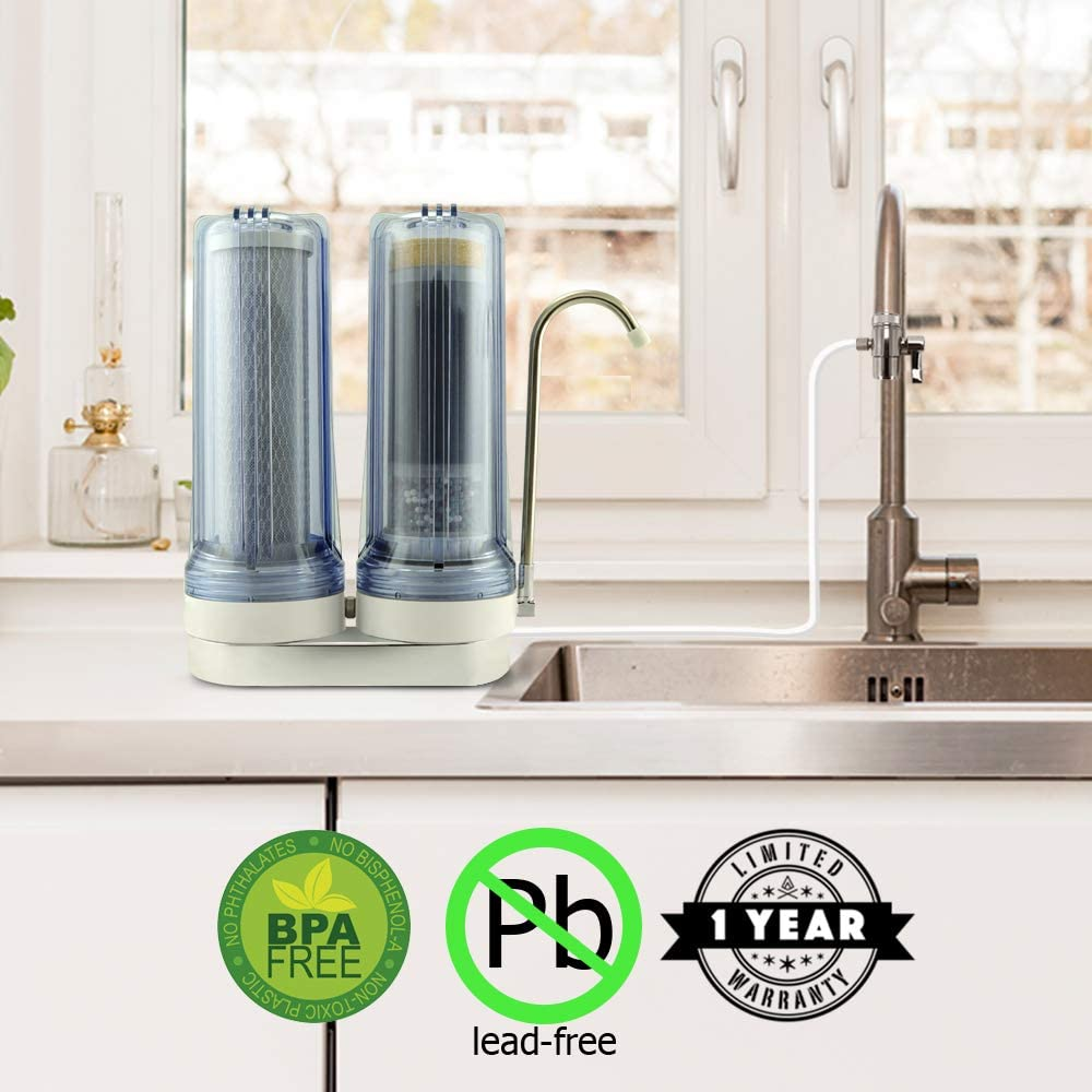 APEX EXPRT MR-2050 Quality Dual Countertop Drinking Water Filter - 5 Carbon Block and 5 Stage Mineral Cartridge - Best Alkaline Filtration System - for Healthier Safer Purified Water (Clear) - -