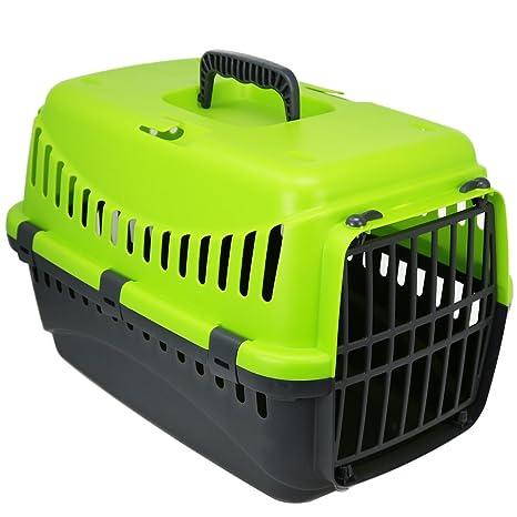 com-four® Porta Mascotas, Caja de Transporte Verde para Gatos, Perros pequeños