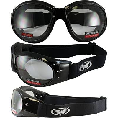 (2 GOGGLES) Motorcycle ATV Riding Clear and Driving Mirror Glasses Sunglasses