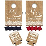 "VictoryStore Wedding Reception Set: Neoprene Customizable Rustic ""To Have And To Hold"" Wedding Can Coolers Set of 50 AND Custom Wedding Cornhole Rustic, Vintage Burlap Design - Wedding Bundle"