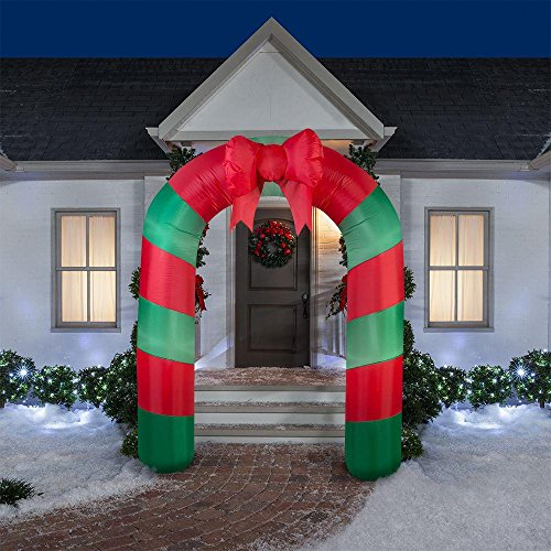 Inflatable Archway Red Green Striped with Bow Lighted 75.59 inches (Buy Outdoor Christmas Decorations)