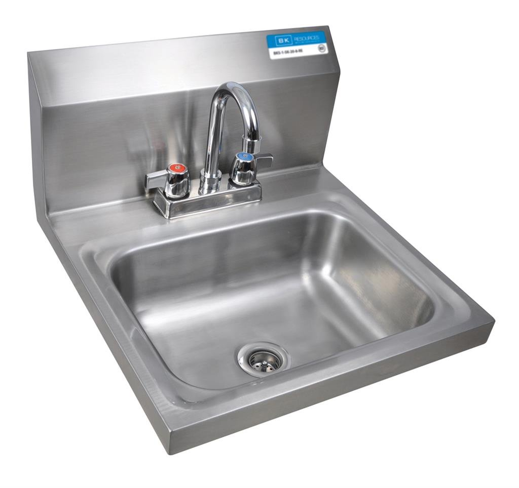 BK Resource BKHS-D-1410-P 2 Hole Hand Sink w/ BKD-3G Faucet Bowl Size 14'' x 10'' x 5'' NSF by BK Resource