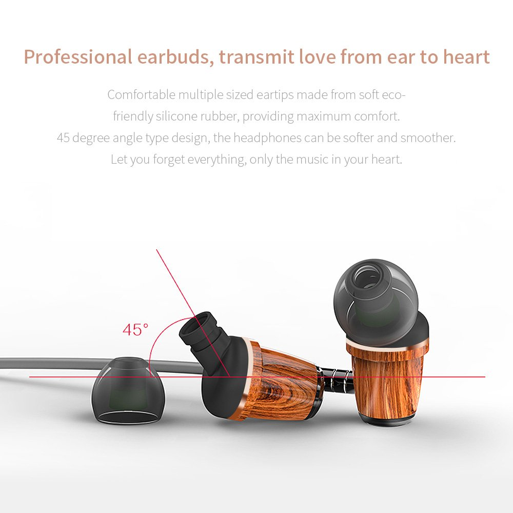 Roadwi Advanced Hi-Fi In-Ear Earphone with Wooden Housing, Bass Sound Earbuds, 3.5mm Wired Headphones with Mic & Volume Control Wired Earphones Stereo Noise Isolating Earbuds for All Cell phones