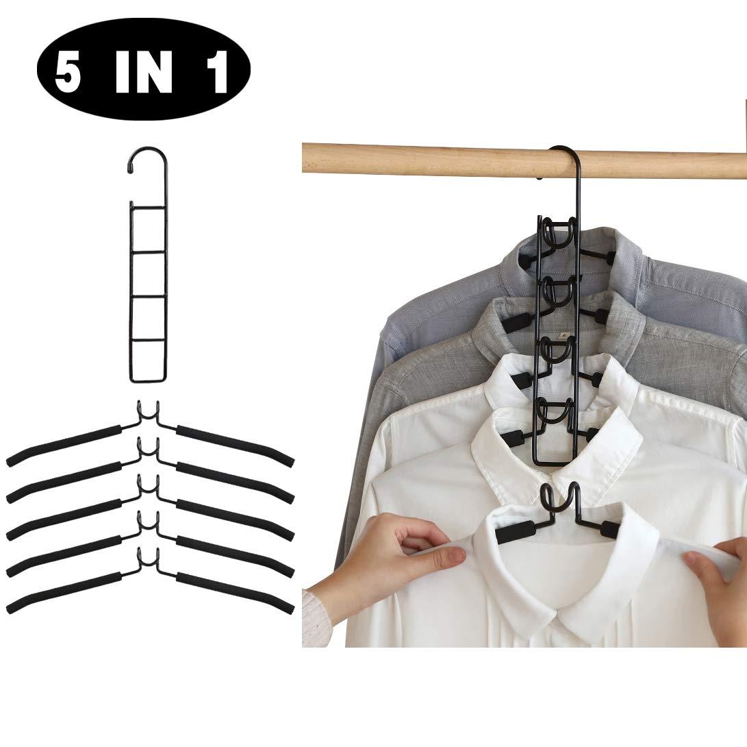 Cintres de Couche M/étallique Gain de Place 5 en 1 Rack Multifonctionnel Cintres Placard pour Jeans Jupes Chemises Pantalons Manteaux ZJW Cintres Multi Couches