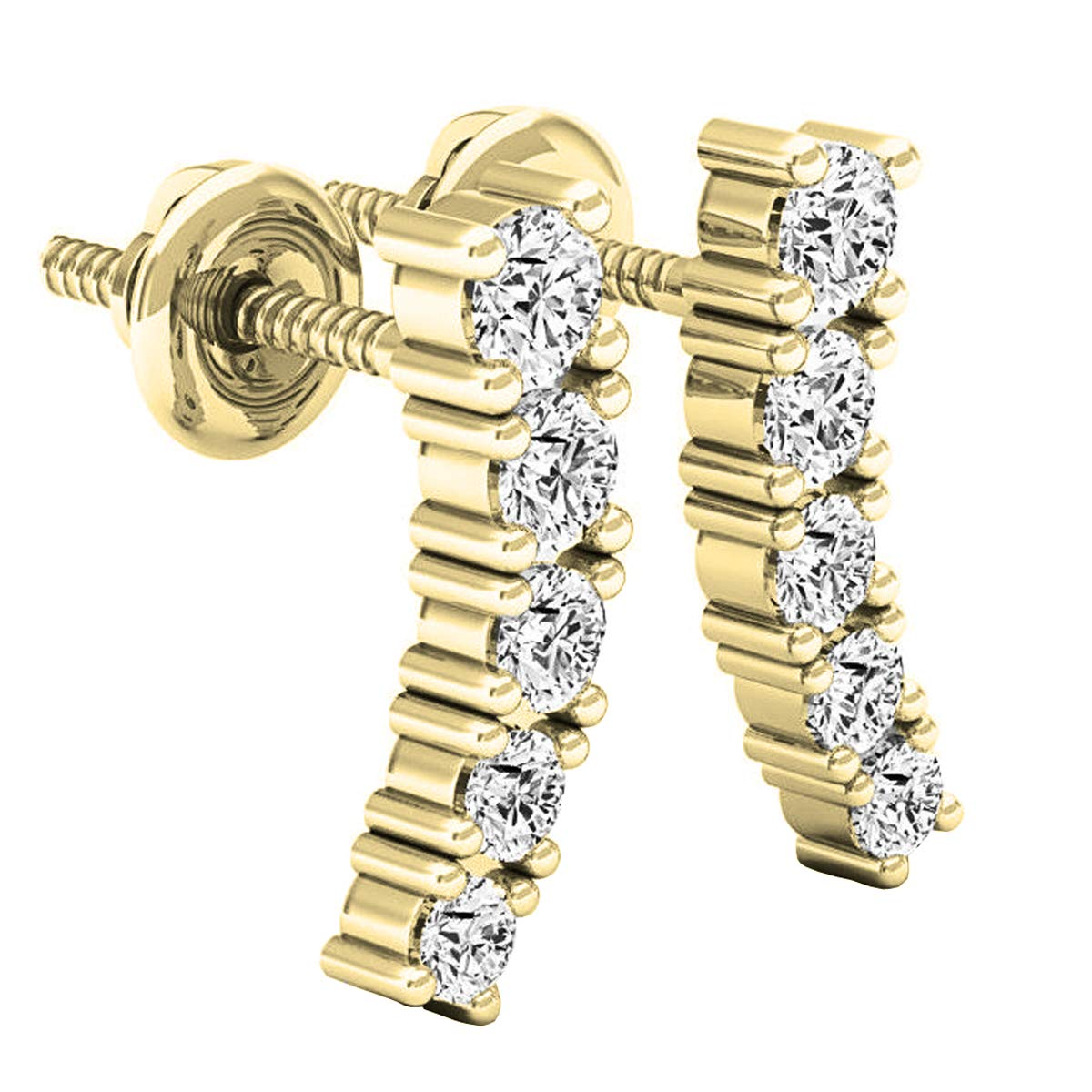 Dazzlingrock Collection 0.50 Carat (ctw) 14K Round White Diamond Ladies Curved Bar Ear Climber Earrings 1/2 CT, Yellow Gold by Dazzlingrock Collection