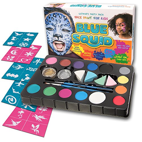 Blue Squid Face Paint Kit | 14 Color, 30 Stencils, 4 Professional Sponges, 2 Brushes, 2 Glitters | Best Quality Ultimate Party Pack for Kids | Vibrant Water Based Painting Set Non-Toxic FDA Approved (Skull Face Painting For Halloween)