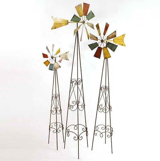 Juego de 3 Wind Cilindro de molino de viento Jardín Varilla Jardín Conector Decoración de Viento Metal Multicolor: Amazon.es: Jardín