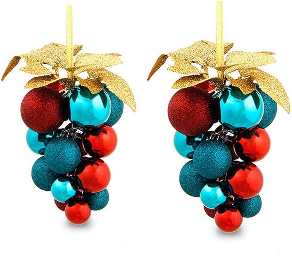 DEF Racimo de UVA Bola de Navidad Decoración de árbol de Navidad, 2 manojos de Bolas de Colores para centros comerciales y decoración de Navidad