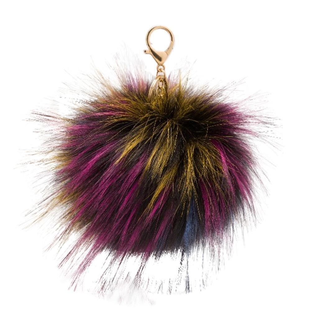 SUPPION Women's Raccoon Furry Ball Keychain Bag Car Charms Pendant (Purple)