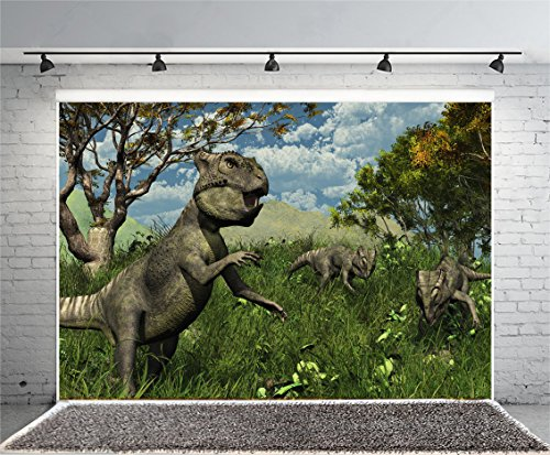 Jurassic Period Background Laeacco 9x6ft Vinyl 3D Dinosaur Photo Backdrop Photography Background Scary Trees Grassland Mountain Blue Sky Nature Landscape Birthday Party Children Kids Photo Prop