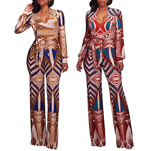 a775237c0de5 YouSun Women Sexy Fashion Floral Print V-neck Long Sleeve High Waist Loose  Long Pant Wide Leg With Belt Jumpsuit Romper - Buy Online in Oman.