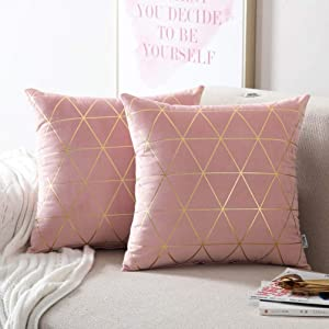 NordECO HOME Pack of 2 Throw Pillow Covers Cases - Square Decorative Cushion Covers for Sofa Couch Bed Home Decoration, 18 x 18, Pink
