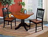 """A-America British Isles Round Double Drop-Leaf Dining Table, 42"""", Oak-Black"""