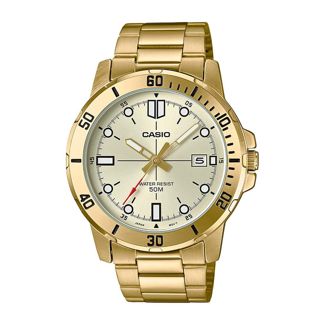 Casio MTP-VD01G-9EV Men s Enticer Gold Tone Stainless Steel Gold Dial Casual Analog Sporty Watch