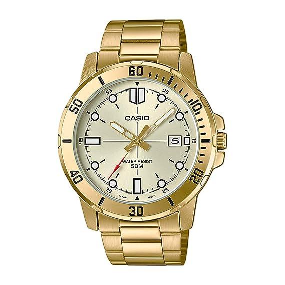 Casio MTP-VD01G-9EV - Reloj deportivo analógico casual de acero inoxidable para hombre: Amazon.es: Relojes