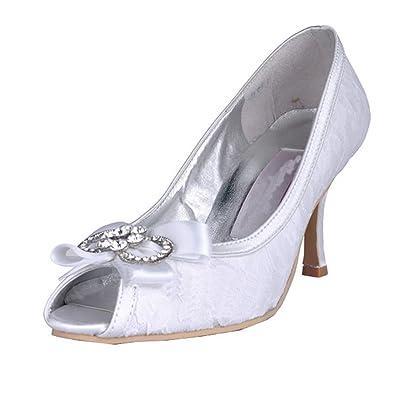 Kevin Fashion - Zapatos de boda a la moda Mujer , color Blanco, talla 42 2/3 EU