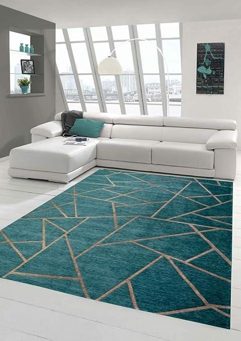 Merinos Orientteppich Wohnzimmer Teppich Geometrisches Muster in Türkis  Bronze Größe 10 x 10 cm